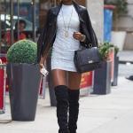 2020 Deri Ceket Kombinleri Beyaz Mini Desenli Triko Elbise Siyah Deri Ceket Uzun Nubuk Topuklu Çizme