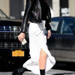2020 Deri Ceket Kombinleri Beyaz Yırtmaçlı Midi Etek Siyah Bluz Deri Ceket Topuklu Kısa Bot