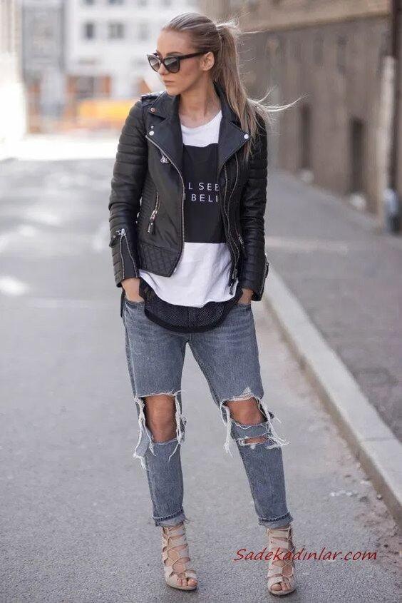 2020 Deri Ceket Kombinleri Mavi Yırtık Kot Pantolon Siyah Bluz Deri Ceket Vizon Topuklu Ayakkabı