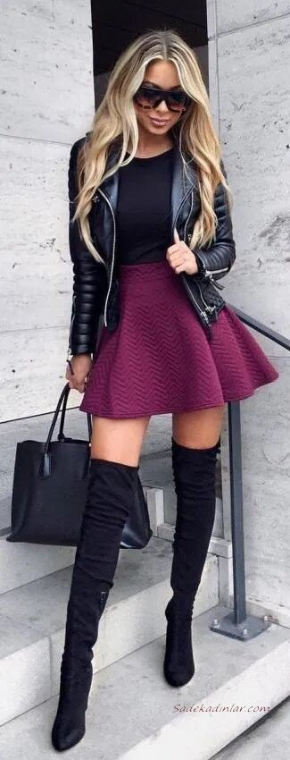 2020 Deri Ceket Kombinleri Mor Mini Kloş Etek Siyah Bluz Deri Ceket Uzun Nubuk Topuklu Çizme