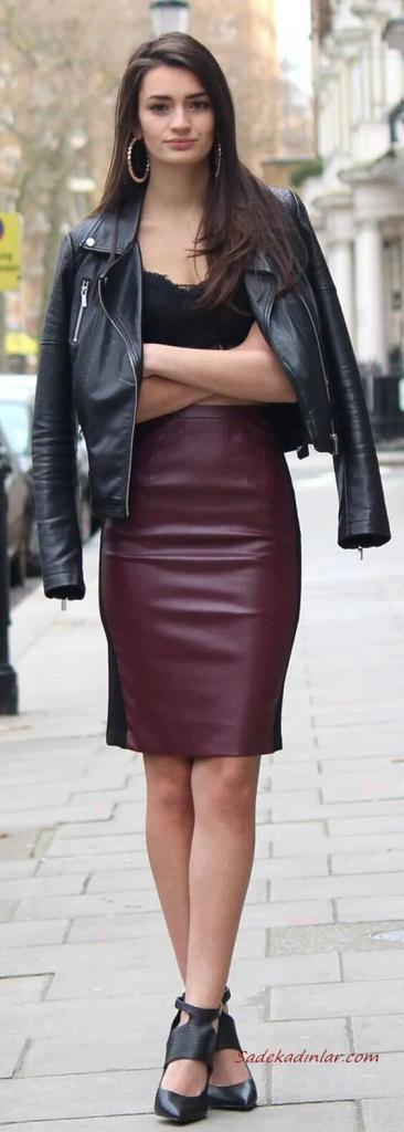 2020 Deri Ceket Kombinleri Mürdüm Kalem Etek Siyah Askılı Bluz Deri Ceket Topuklu Ayakkabı
