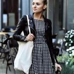 2020 Deri Ceket Kombinleri Siyah Mini Ekose Desenli Elbise Deri Ceket