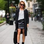 2020 Deri Etek Kombinleri Siyah Mini Deri Etek Beyaz Bluz Siyah Uzun Hırka Topuklu Bot