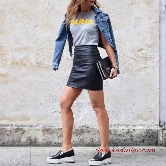 2020 Deri Etek Kombinleri Siyah Mini Deri Etek Gri Tişört Mavi Kot Ceket Siyah Ayakkabı