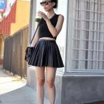 2020 Deri Etek Kombinleri Siyah Mini Pileli Deri Etek Kolsuz Büstiyer Topuklu Ayakkabı