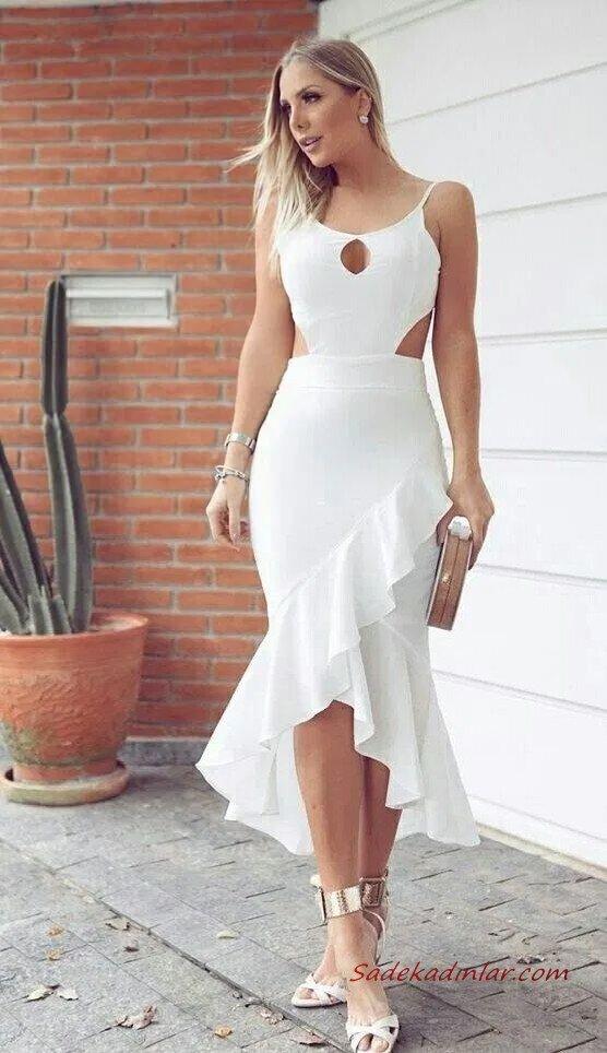 2020 Etek Kombinleri Beyaz Asimetrik Fırfırlı Etek Askılı Bluz Stiletto Ayakkabı