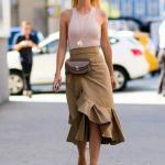 2020 Etek Kombinleri Kahverengi Midi Fırfırlı Etek Vizon Askılı Bluz Topuklu Ayakkabı
