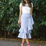 2020 Etek Kombinleri Mavi Midi Fırfırlı Etek Beyaz Kısa Kollu Bluz Eflatun Stiletto Ayakkabı