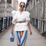 2020 Etek Kombinleri Mavi Midi Renk Bloklu Etek Beyaz Kısa Kollu Fırfırlı Ceket