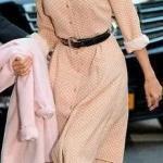 2020 Günlük Elbise Kombinleri Kahverengi Dizboyu Uzun Kollu Desenli Kemerli Elbise Vizon Stiletto Ayakkabı