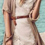 2020 Günlük Elbise Kombinleri Krem Mini Dantel Elbise Kahverengi Uzun Hırka