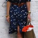 2020 Günlük Elbise Kombinleri Lacivert Mini Yetim Kollu Kemerli Desenli Elbise Taba Topuklu Ayakkabı