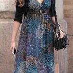 2020 Günlük Elbise Kombinleri Lacivert Uzun V Yakalı Desenli Kemerli Elbise Siyah Kısa Hırka