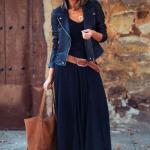 2020 Günlük Elbise Kombinleri Lacivert Uzun V Yakalı Kloş Elbise Siyah Deri Ceket Taba Topuklu Ayakkabı