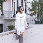 2020 Günlük Kombinler Beyaz Mini Omzu Açık Triko Elbise Gri Uzun Nubuk Topuklu Çizme