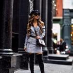 2021 Kış İçin Günlük Kombinler Gri Mini Omzu Açık Uzun Kol Elbise Siyah Uzun Nubuk Çizme