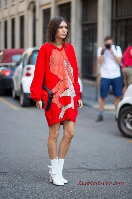2020 Günlük Kombinler Kırmızı Mini Desenli Kazak Elbise Beyaz Deri Topuklu Kısa Bot