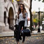 2021 Kış İçin Günlük Kombinler Siyah Pantolon Gri Omzu Açık Kazak Siyah Stiletto Ayakkabı