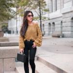 2021 Kış İçin Günlük Kombinler Siyah Pantolon Sarı Omzu Açık Kazak Topuklu Çizme