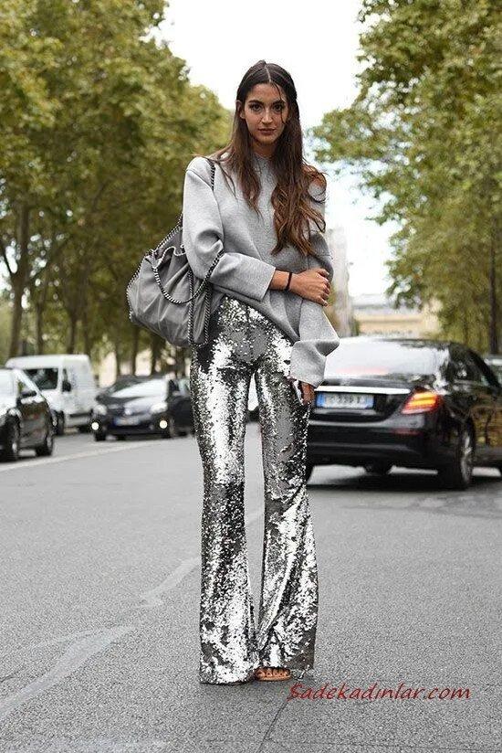 2020 Kıyafet Kombinleri Gri İspanyol Paça Pullu Pantolon Omzu Açık Kazak