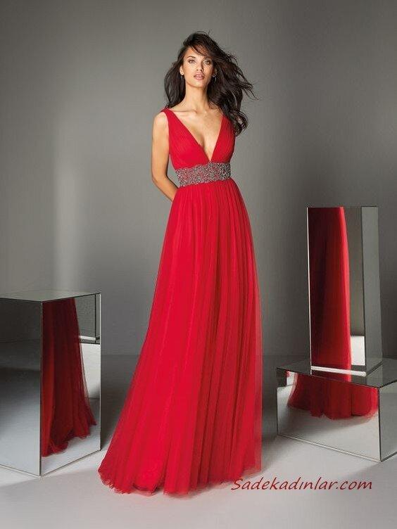 2020 Pronovias Uzun Abiye Elbise Modelleri Kırmızı Uzun Askılı Derin Göğüs Dekolteli Taş Kemerli