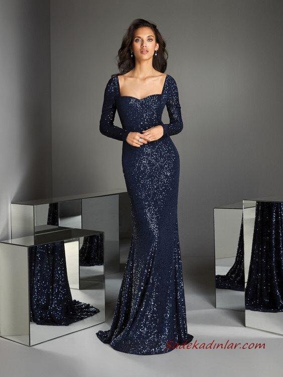 2020 Pronovias Uzun Abiye Elbise Modelleri Lacivert Balık Kalp Yakalı Uzun Kollu Payetli