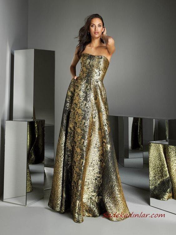 2020 Pronovias Uzun Abiye Elbise Modelleri Sarı Uzun Straplez Cepli Kloş Etekli Desenli
