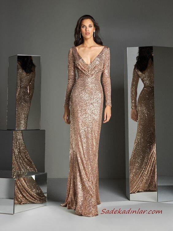 2020 Pronovias Uzun Abiye Elbise Modelleri Vizon Uzun Derin V Yakalı Payetli Uzun Kollu