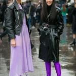 2020 Uzun Çizme Kombinleri Eflatun Uzun Elbise Siyah Deri Çizme Eflatun Diz Üstü Topuklu Çizme