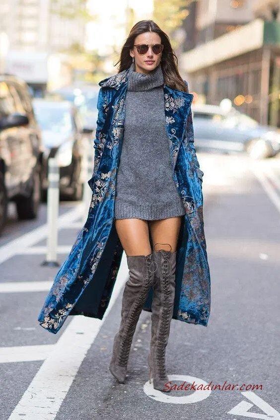 2020 Uzun Çizme Kombinleri Gri Mini Boğazlı Kazak Elbise Mavi Uzun Kaban Gri Diz Üstü Nubuk Çizme
