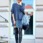 2020 Uzun Çizme Kombinleri Gri Mini Elbise Uzun Kollu Bluz Nubuk Diz Üstü Çizme