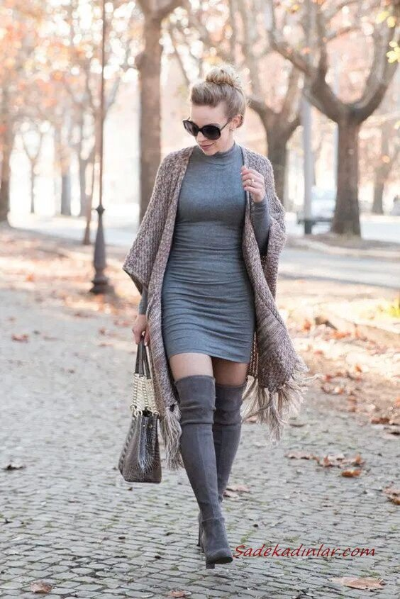 2020 Uzun Çizme Kombinleri Gri Mini Triko Elbise Kahverengi Uzun Hırka Gri Nubuk Diz Üstü Çizme