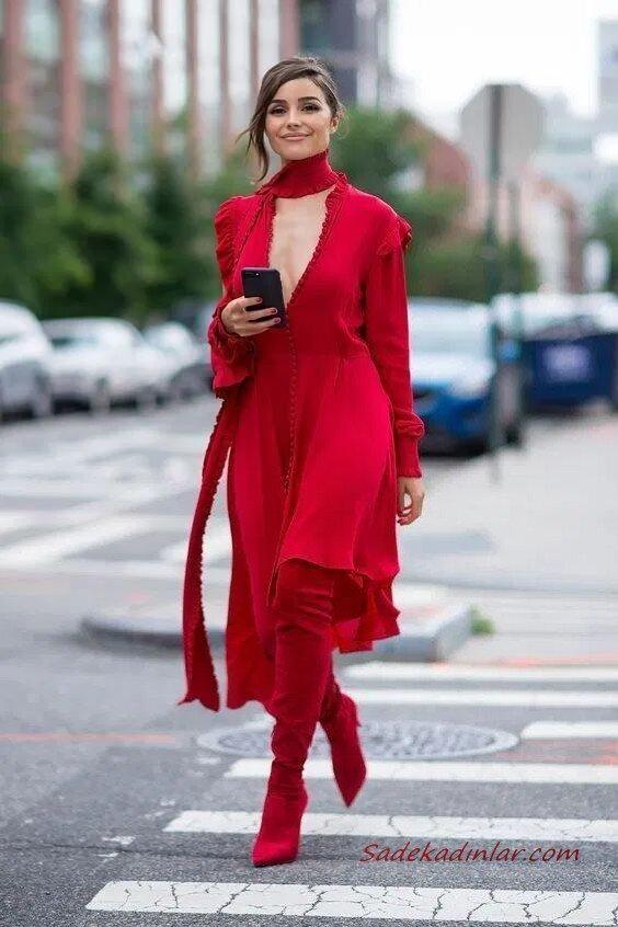 2020 Uzun Çizme Kombinleri Kırmızı Midi Uzun Kollu Derin V Yakalı Elbise Nubuk Diz Üstü Topuklu Çizme