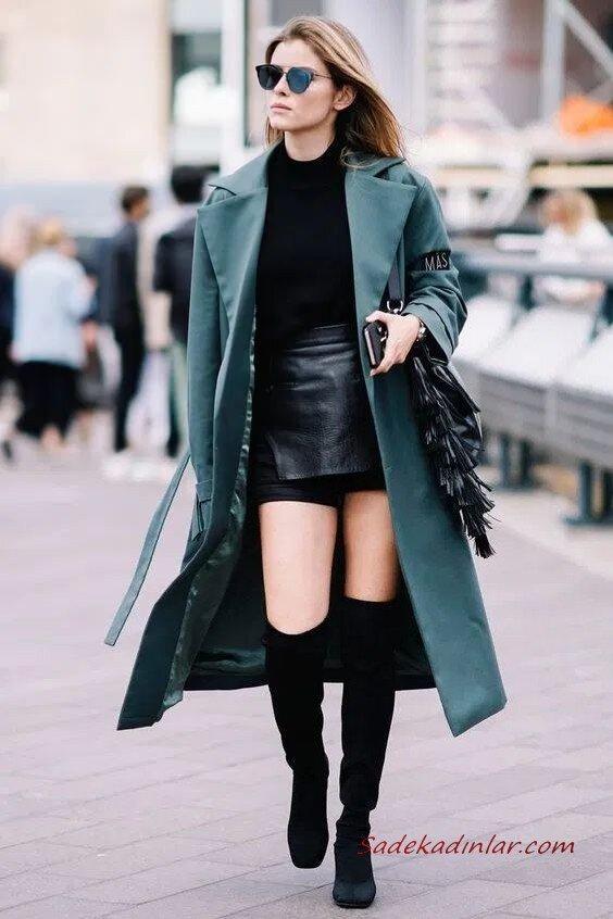 2020 Uzun Çizme Kombinleri Siyah Mini Deri Etek Kazak Yeşil Uzun Kaşe Kaban Siyah Diz ÜStü Nubuk Çizme