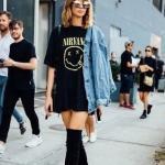 2020 Uzun Çizme Kombinleri Siyah Mini Etek Tişört Mavi Kot Mont Siyah Diz Üstü Nubuk Çizme