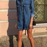 2020 İlkbahar Yaz Kombin Önerileri Mavi Mini Uzun Kollu Kot Elbise Pembe Stiletto Ayakkabı