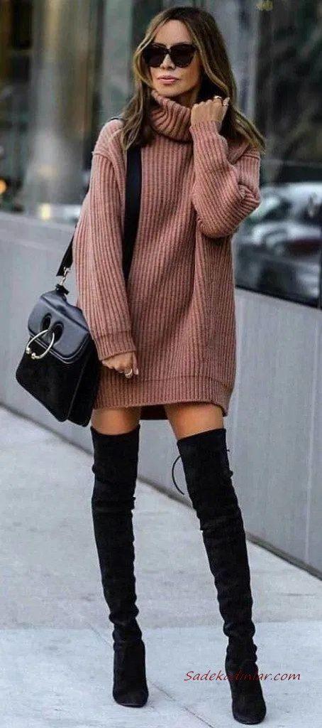 2020 Örgü Elbise Modelleri Tarçın Rengi Mini Boğazlı Salaş