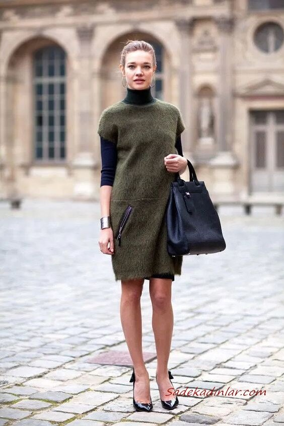 2020 Örgü Elbise Modelleri Yeşil Mini Cepli Boğazlı