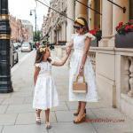 2020 Anne Kız Elbise ve Kıyafet Kombinleri Beyaz Midi Kısa Kollu Çiçek Desenli Elbise
