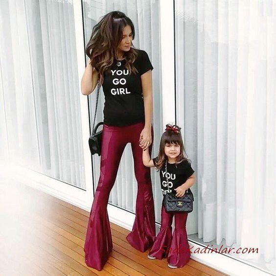 2020 Anne Kız Elbise ve Kıyafet Kombinleri Bordo İspanyol Paça Pantolon Siyah Kısa Kollu Tişört