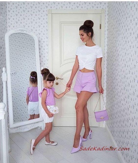 2020 Anne Kız Elbise ve Kıyafet Kombinleri Lila Şort Beyaz Kısa Kollu Tişört
