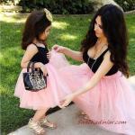 2020 Anne Kız Elbise ve Kıyafet Kombinleri Pembe Midi Askılı Tül Etekli Elbise