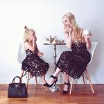 2020 Anne Kız Elbise ve Kıyafet Kombinleri Siyah Midi İp Askılı Dantel Elbise