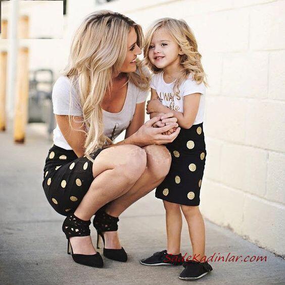2020 Anne Kız Elbise ve Kıyafet Kombinleri Siyah Mini Kısa Kollu Puantiyeli Elbise