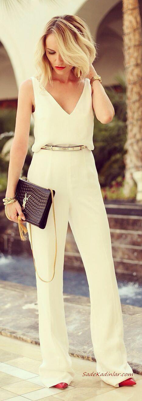 2020 Bayan Tulum Modelleri Beyaz Askılı V Yakalı Bol Paça Kemerli