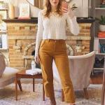 2020 Bol Paça Pantolon Kombinleri Hardal Sarı Pantolon Krem Örgü Kazak Camel Deri Kısa Topuklu Bot
