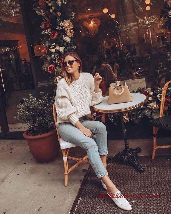 2020 Bol Paça Pantolon Kombinleri Mavi Kot Pantolon Beyaz Desenli Kazak Babet Ayakkabı