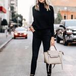 2020 Bol Paça Pantolon Kombinleri Siyah Pantolon Boğazlı Kazak Topuklu Nubuk Ayakkabı