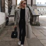 2020 Bol Paça Pantolon Kombinleri Siyah Pantolon Kazak Gri Uzun Ekose Desenli Mont Beyaz Spor Ayakkabı