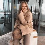 2020 Kışı İçin Bayan Kısa Şişme Mont Kombinleri Kahverengi Pantolon Kazak Mont